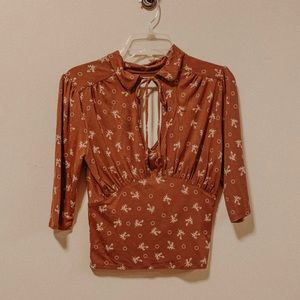 Free people tie front patterned blouse